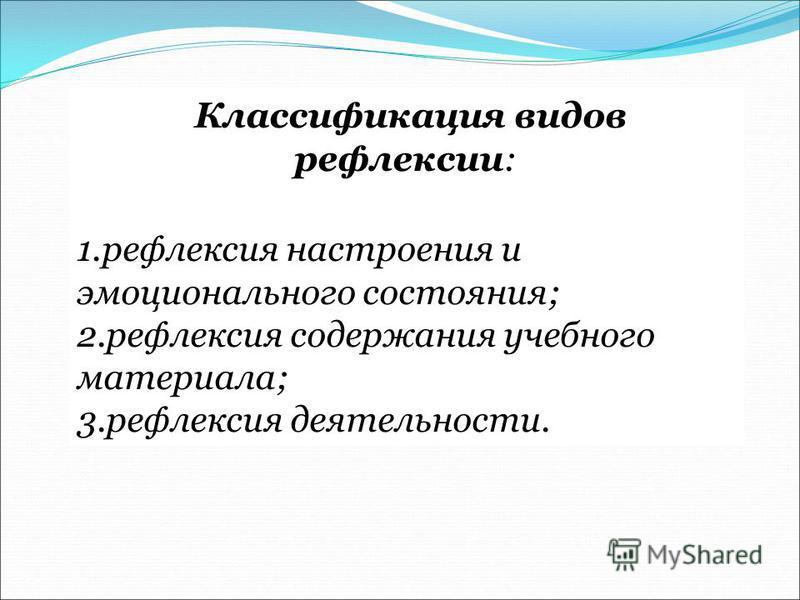 Классификация видов рефлексии: 1. рефлексия настроения и эмоционального состояния; 2. рефлексия содержания учебного материала; 3. рефлексия деятельности.