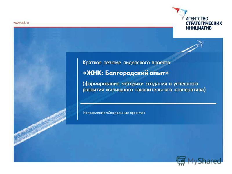 Краткое резюме лидерского проекта «ЖНК: Белгородский опыт» (формирование методики создания и успешного развития жилищного накопительного кооператива) Направление «Социальные проекты»