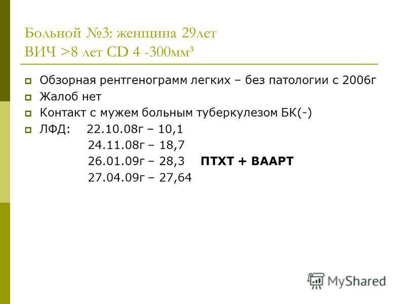 Больной 3: женщина 29 лет ВИЧ >8 лет CD 4 -300 мм³ Обзорная рентгенограмм легких – без патологии с 2006 г Жалоб нет Контакт с мужем больным туберкулезом БК(-) ЛФД: 22.10.08 г – 10,1 24.11.08 г – 18,7 26.01.09 г – 28,3 ПТХТ + ВААРТ 27.04.09 г – 27,64