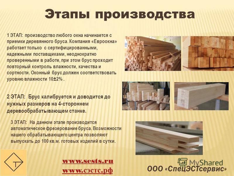 ООО «Спец ЭСТсервис» Этапы производства 1 ЭТАП: производство любого окна начинается с приемки деревянного бруса. Компания «Евроокна» работает только с сертифицированными, надежными поставщиками, неоднократно проверенными в работе, при этом брус прохо
