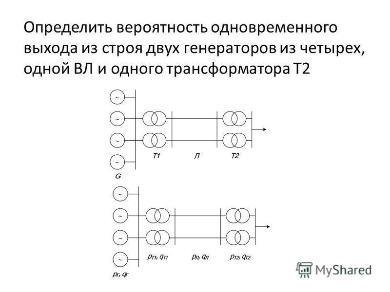 Определить вероятность одновременного выхода из строя двух генераторов из четырех, одной ВЛ и одного трансформатора Т2