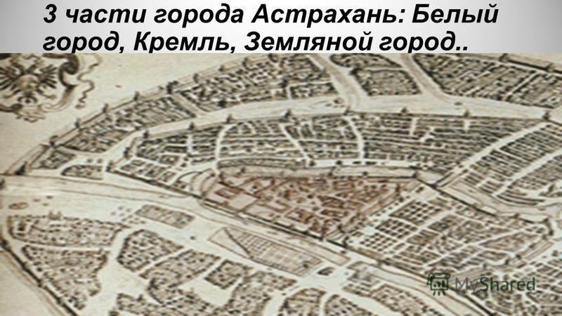 3 части города Астрахань: Белый город, Кремль, Земляной город..
