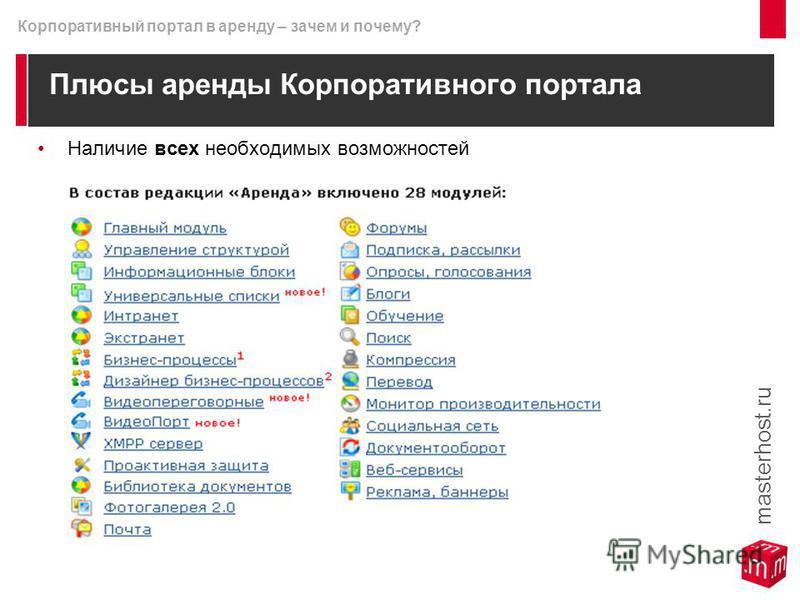 Плюсы аренды Корпоративного портала Наличие всех необходимых возможностей masterhost.ru Корпоративный портал в аренду – зачем и почему?