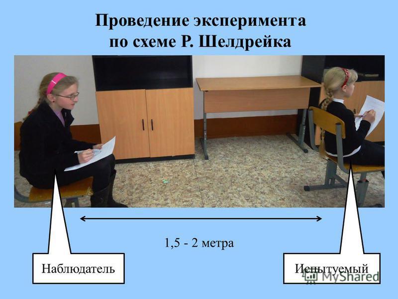 Проведение эксперимента по схеме Р. Шелдрейка Наблюдатель Испытуемый 1,5 - 2 метра