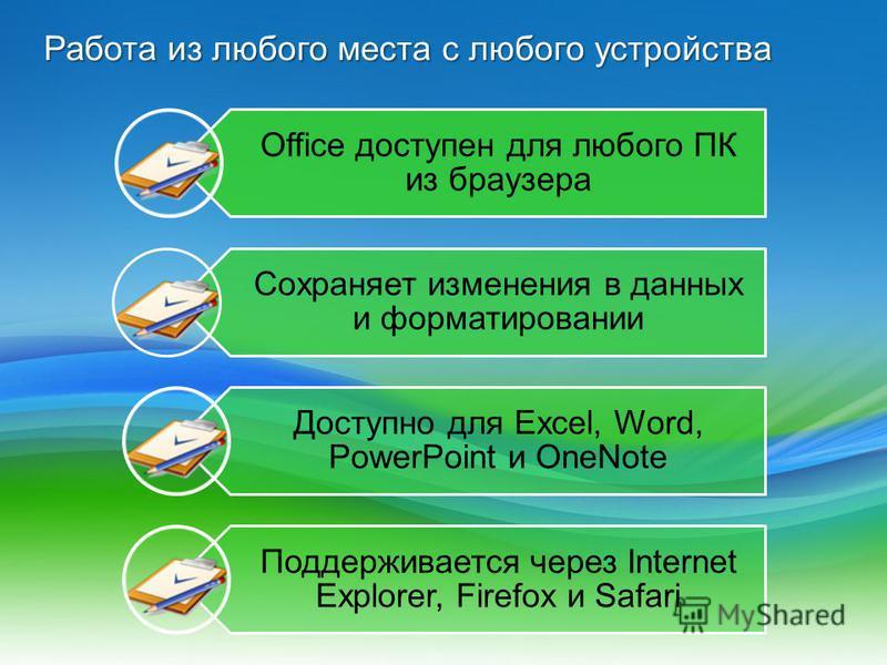 Работа из любого места с любого устройства Office доступен для любого ПК из браузера Сохраняет изменения в данных и форматировании Доступно для Excel, Word, PowerPoint и OneNote Поддерживается через Internet Explorer, Firefox и Safari