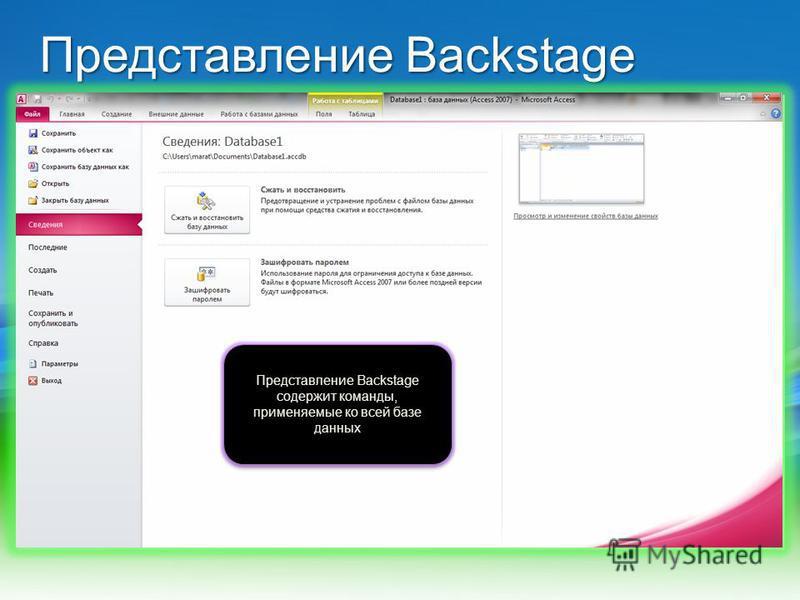 Представление Backstage Представление Backstage содержит команды, применяемые ко всей базе данных