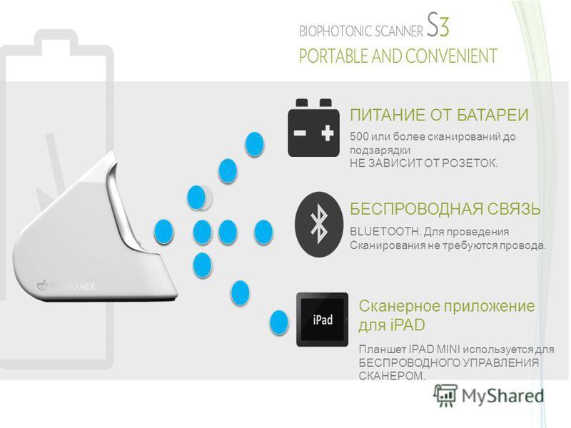 ПИТАНИЕ ОТ БАТАРЕИ 500 или более сканирований до подзарядки НЕ ЗАВИСИТ ОТ РОЗЕТОК. БЕСПРОВОДНАЯ СВЯЗЬ BLUETOOTH. Для проведения Сканирования не требуются провода. Сканерное приложение для iPAD Планшет IPAD MINI используется для БЕСПРОВОДНОГО УПРАВЛЕН