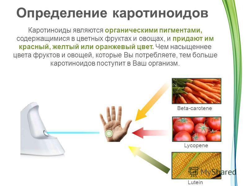 Определение каротиноидов Каротиноиды являются органическими пигментами, содержащимися в цветных фруктах и овощах, и придают им красный, желтый или оранжевый цвет. Чем насыщеннее цвета фруктов и овощей, которые Вы потребляете, тем больше каротиноидов