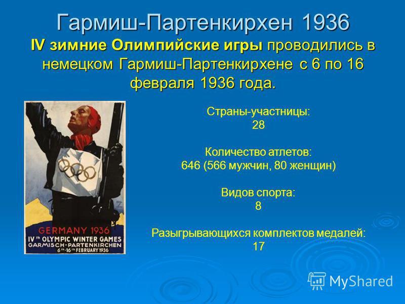 Гармиш-Партенкирхен 1936 IV зимние Олимпийские игры проводились в немецком Гармиш-Партенкирхене с 6 по 16 февраля 1936 года. Страны-участницы: 28 Количество атлетов: 646 (566 мужчин, 80 женщин) Видов спорта: 8 Разыгрывающихся комплектов медалей: 17