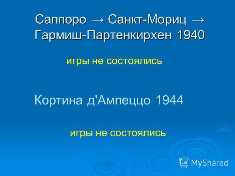 Саппоро Санкт-Мориц Гармиш-Партенкирхен 1940 игры не состоялись Кортина д'Ампеццо 1944 игры не состоялись