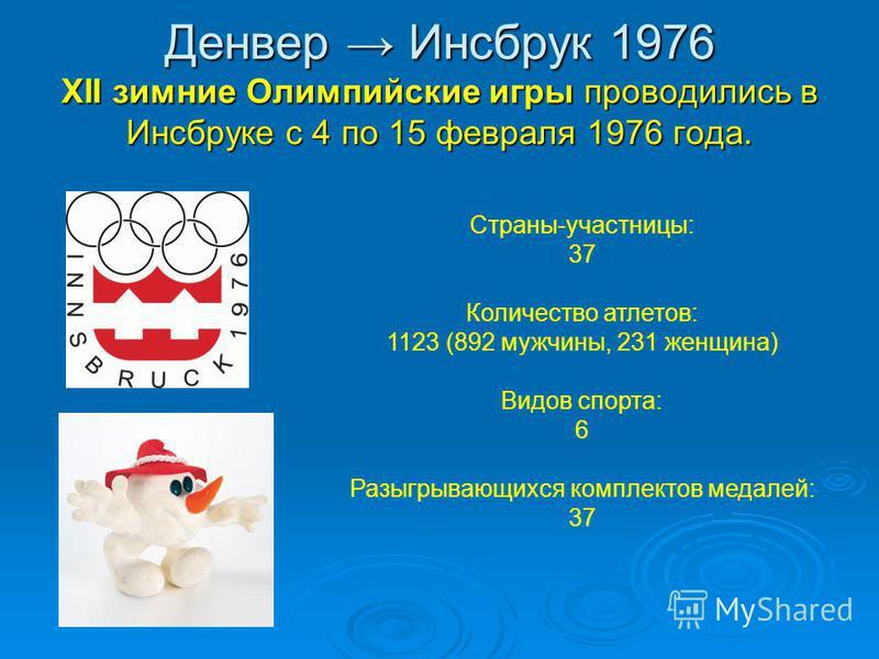Денвер Инсбрук 1976 XII зимние Олимпийские игры проводились в Инсбруке с 4 по 15 февраля 1976 года. Страны-участницы: 37 Количество атлетов: 1123 (892 мужчины, 231 женщина) Видов спорта: 6 Разыгрывающихся комплектов медалей: 37