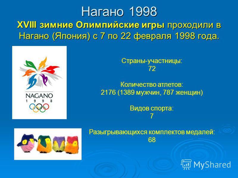 Нагано 1998 XVIII зимние Олимпийские игры проходили в Нагано (Япония) с 7 по 22 февраля 1998 года. Страны-участницы: 72 Количество атлетов: 2176 (1389 мужчин, 787 женщин) Видов спорта: 7 Разыгрывающихся комплектов медалей: 68