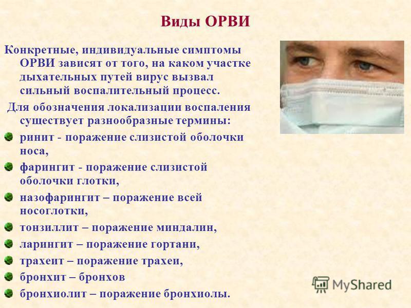 Виды ОРВИ Конкретные, индивидуальные симптомы ОРВИ зависят от того, на каком участке дыхательных путей вирус вызвал сильный воспалительный процесс. Для обозначения локализации воспаления существует разнообразные термины: ринит - поражение слизистой о