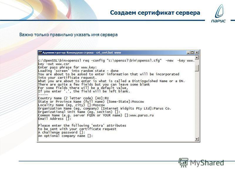Важно только правильно указать имя сервера Создаем сертификат сервера