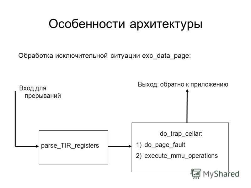 Особенности архитектуры parse_TIR_registers do_trap_cellar: 1)do_page_fault 2)execute_mmu_operations Вход для прерываний Выход: обратно к приложению Обработка исключительной ситуации exc_data_page: