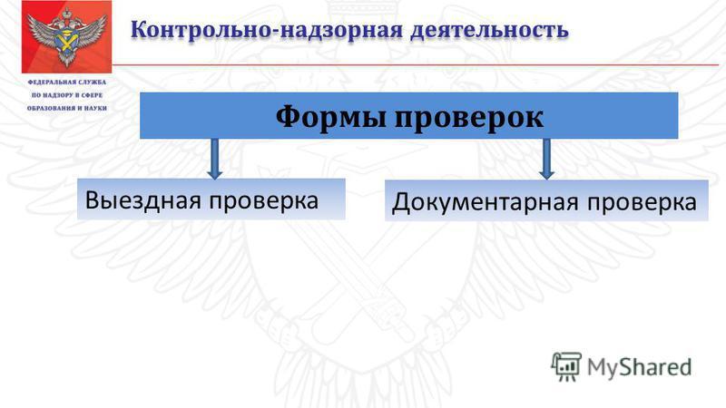 Контрольно-надзорная деятельность Формы проверок Выездная проверка Документарная проверка