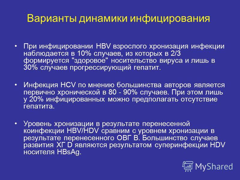 Варианты динамики инфицирования При инфицировании HBV взрослого хронизация инфекции наблюдается в 10% случаев, из которых в 2/3 формируется