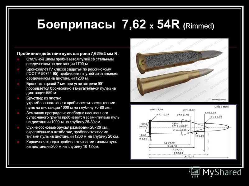 Пробивное действие пуль патрона 7,62×54 мм R: Стальной шлем пробивается пулей со стальным сердечником на дистанции 1700 м. Бронежилет IV класса защиты (по российскому ГОСТ Р 50744-95) пробивается пулей со стальным сердечником на дистанции 1200 м. Бро