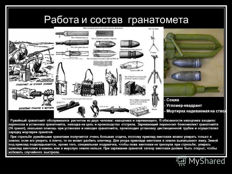 Работа и состав гранатомета - Сошка - Угломер-квадрант - Мортирка надеваемая на ствол Ружейный гранатомёт обслуживался расчетом из двух человек: наводчика и заряжающего. В обязанности наводчика входило: переноска и установка гранатомёта, наводка на ц