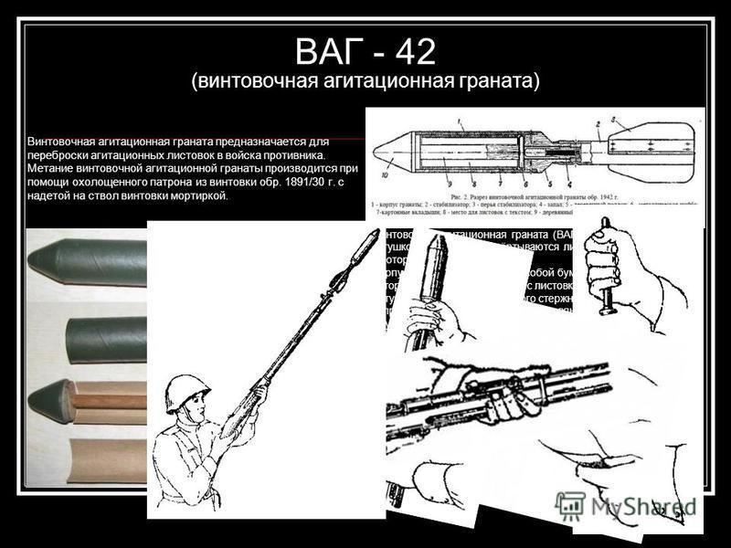 ВАГ - 42 (винтовочная агитационная граната) Винтовочная агитационная граната предназначается для переброски агитационных листовок в войска противника. Метание винтовочной агитационной гранаты производится при помощи охолощенного патрона из винтовки о