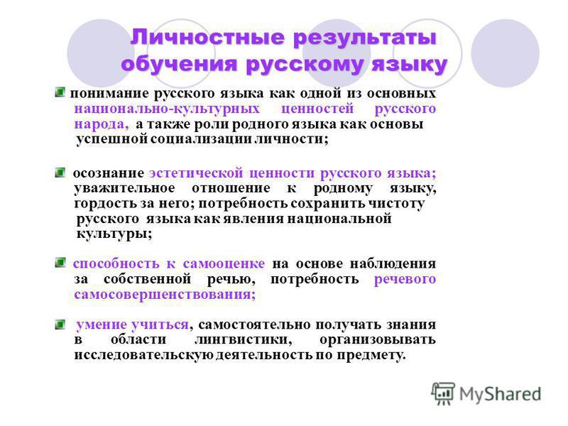 понимание русского языка как одной из основных национально-культурных ценностей русского народа, а также роли родного языка как основы успешной социализации личности; осознание эстетической ценности русского языка; уважительное отношение к родному яз
