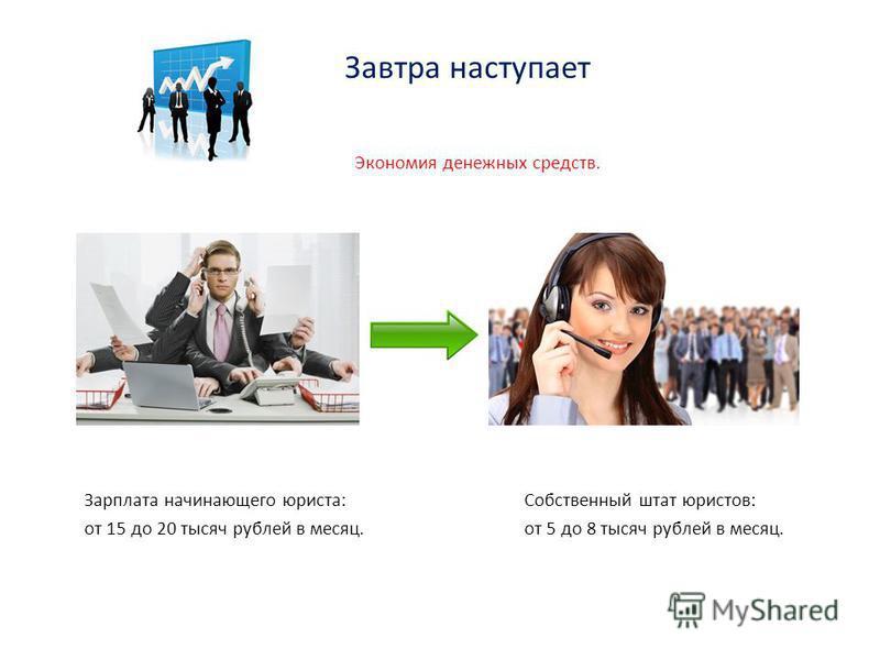 Завтра наступает Экономия денежных средств. Зарплата начинающего юриста: Собственный штат юристов: от 15 до 20 тысяч рублей в месяц. от 5 до 8 тысяч рублей в месяц.