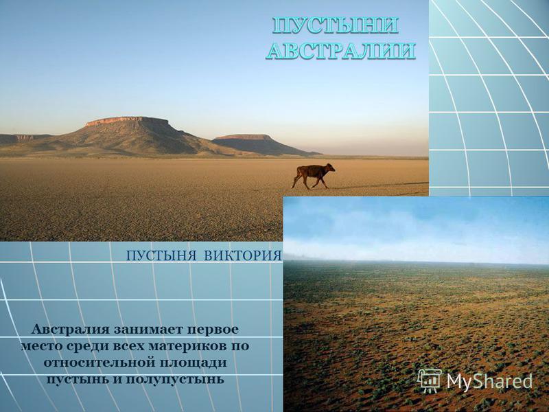 Австралия занимает первое место среди всех материков по относительной площади пустынь и полупустынь ПУСТЫНЯ ВИКТОРИЯ
