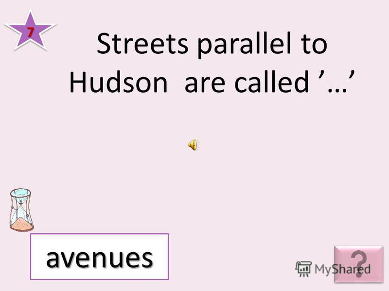 Streets parallel to Hudson are called … 77 avenues