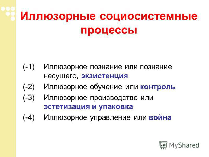 (-1) Иллюзорное познание или познание несущего, экзистенция (-2) Иллюзорное обучение или контроль (-3) Иллюзорное производство или эстетизация и упаковка (-4) Иллюзорное управление или война Иллюзорные социосистемные процессы