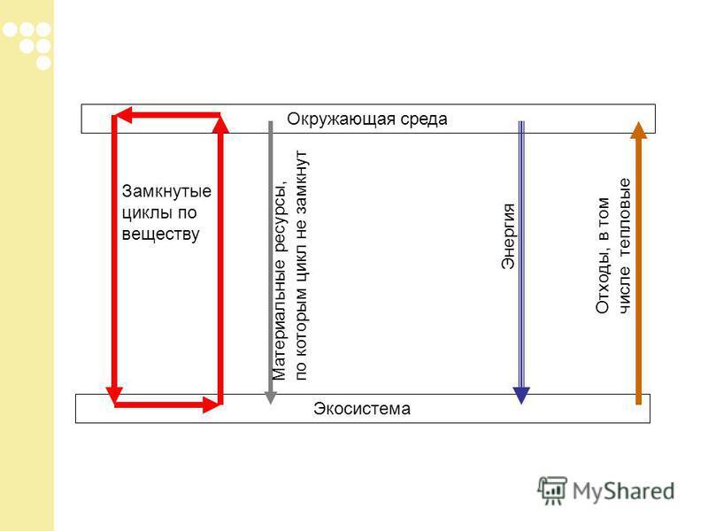 Окружающая среда Экосистема Замкнутые циклы по веществу Энергия Отходы, в том числе тепловые Материальные ресурсы, по которым цикл не замкнут