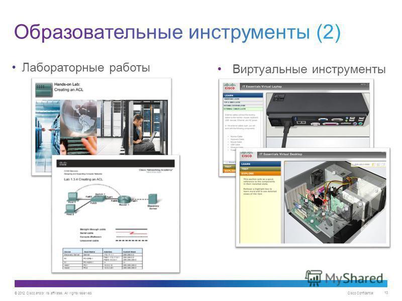 © 2012 Cisco and/or its affiliates. All rights reserved. Cisco Confidential 13 Лабораторные работы Виртуальные инструменты