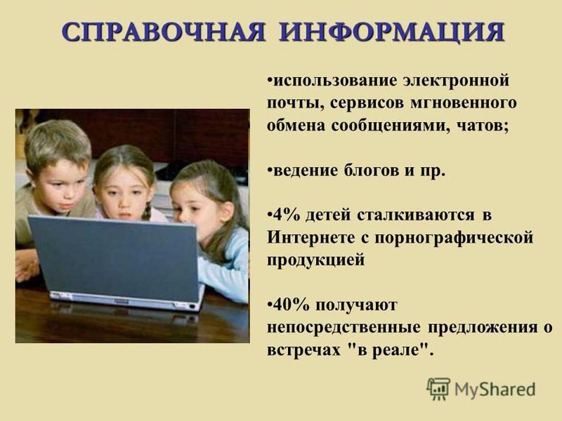 использование электронной почты, сервисов мгновенного обмена сообщениями, чатов; ведение блогов и пр. 4% детей сталкиваются в Интернете с порнографической продукцией 40% получают непосредственные предложения о встречах в реале.