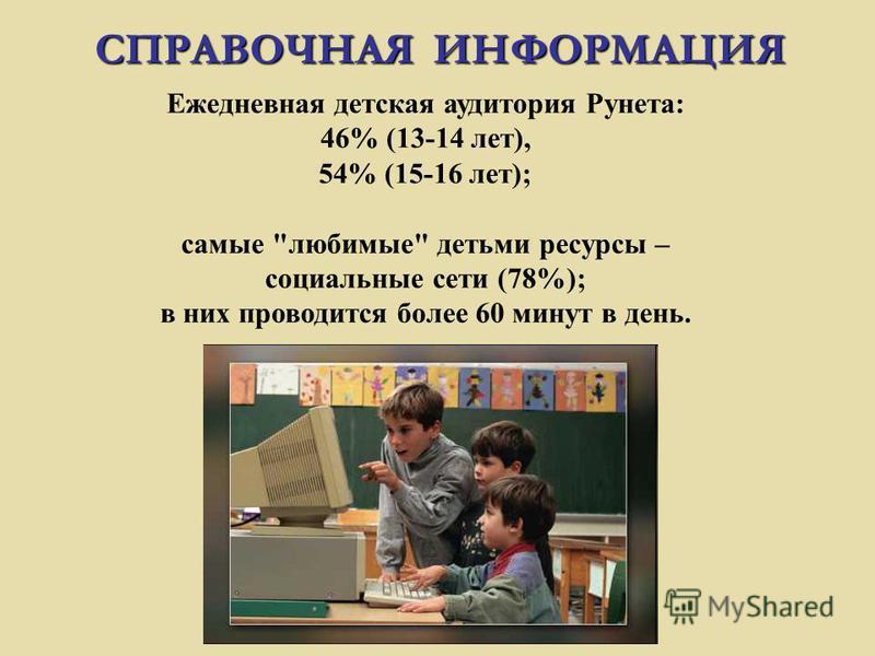 Ежедневная детская аудитория Рунета: 46% (13-14 лет), 54% (15-16 лет); самые любимые детьми ресурсы – социальные сети (78%); в них проводится более 60 минут в день. СПРАВОЧНАЯ ИНФОРМАЦИЯ