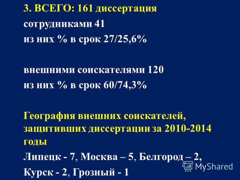 3. ВСЕГО: 161 диссертация сотрудниками 41 из них % в срок 27/25,6% внешними соискателями 120 из них % в срок 60/74,3% География внешних соискателей, защитивших диссертации за 2010-2014 годы Липецк - 7, Москва – 5, Белгород – 2, Курск - 2, Грозный - 1