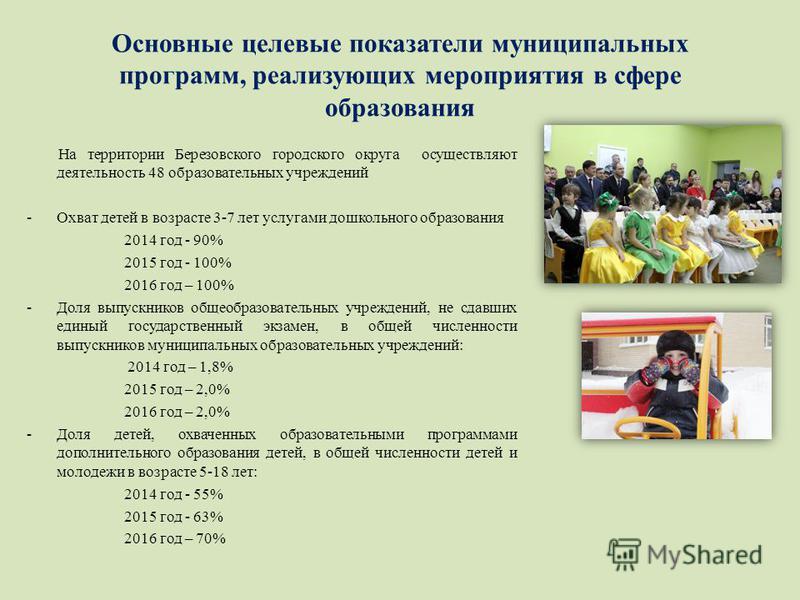 Основные целевые показатели муниципальных программ, реализующих мероприятия в сфере образования На территории Березовского городского округа осуществляют деятельность 48 образовательных учреждений -Охват детей в возрасте 3-7 лет услугами дошкольного
