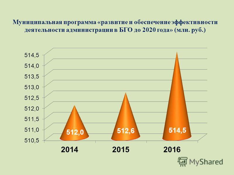 Муниципальная программа «развитие и обеспечение эффективности деятельности администрации в БГО до 2020 года» (млн. руб.)