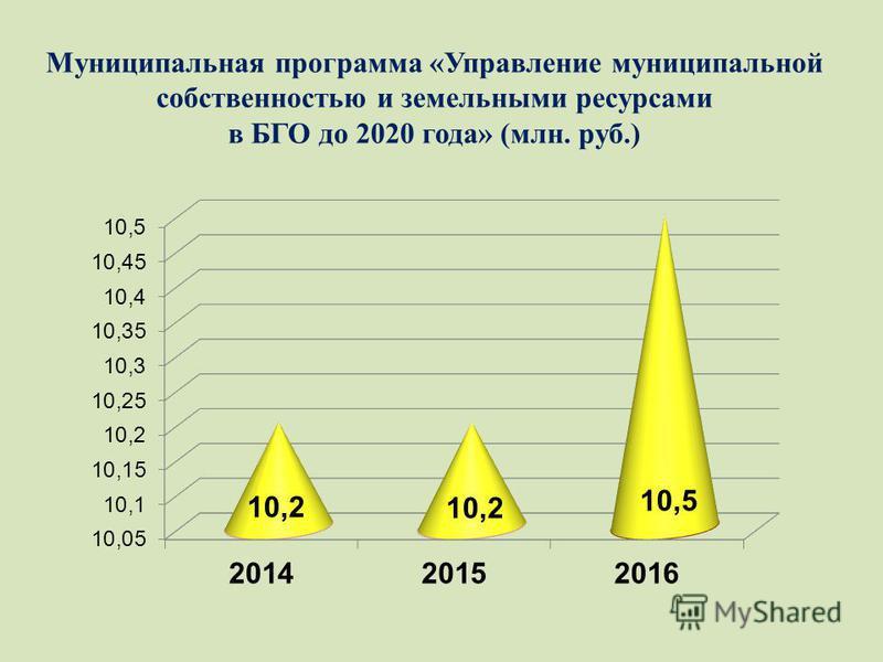 Муниципальная программа «Управление муниципальной собственностью и земельными ресурсами в БГО до 2020 года» (млн. руб.)