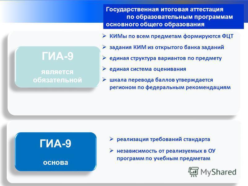 Структуры – организаторы ГИА-9 ГИА-9 является обязательной ГИА-9 является обязательной КИМы по всем предметам формируются ФЦТ задания КИМ из открытого банка заданий единая структура вариантов по предмету единая система оценивания шкала перевода балло
