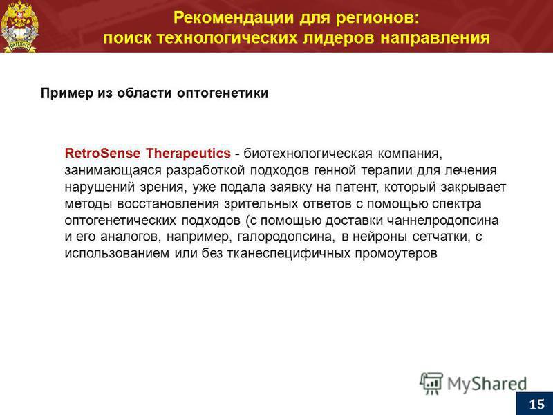 Рекомендации для регионов: поиск технологических лидеров направления 15 Пример из области оптогенетики RetroSense Therapeutics - биотехнологическая компания, занимающаяся разработкой подходов генной терапии для лечения нарушений зрения, уже подала за