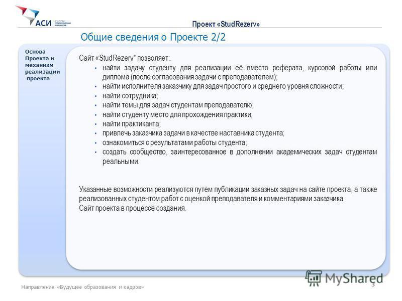 Основа Проекта и механизм реализации проекта Основа Проекта и механизм реализации проекта Сайт «StudRezerv