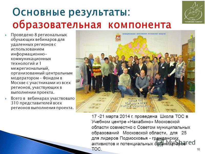 Проведено 8 региональных обучающих вебинаров для удаленных регионов с использованием информационно- коммуникационных технологий и 1 межрегиональный, организованный центральным модератором - Фондом в Москве с участниками из всех регионов, участвующих