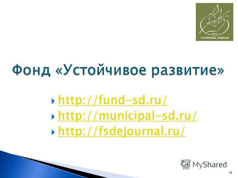 http://fund-sd.ru/ http://municipal-sd.ru/ http://fsdejournal.ru/ 14