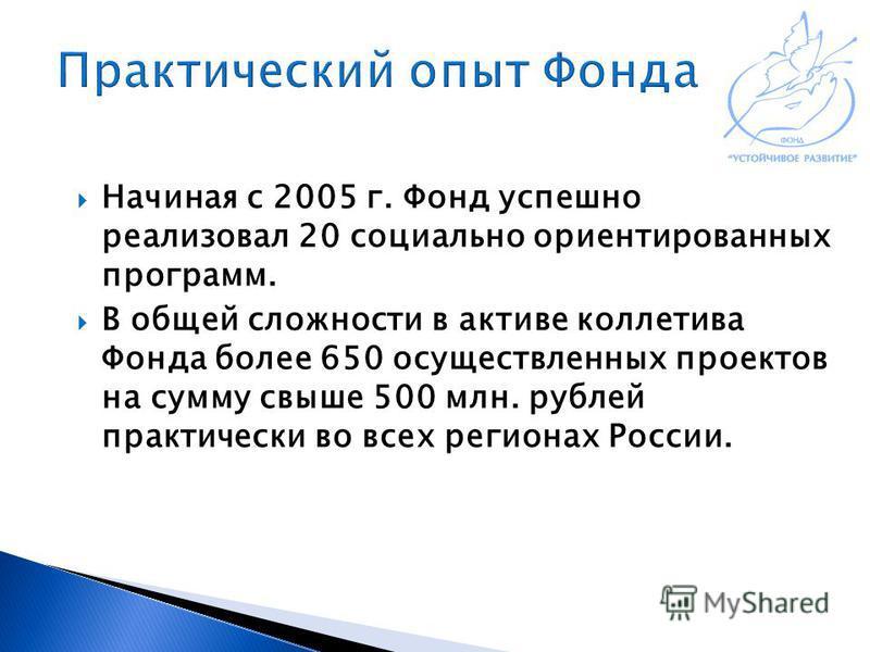 Начиная с 2005 г. Фонд успешно реализовал 20 социально ориентированных программ. В общей сложности в активе коллектива Фонда более 650 осуществленных проектов на сумму свыше 500 млн. рублей практически во всех регионах России.