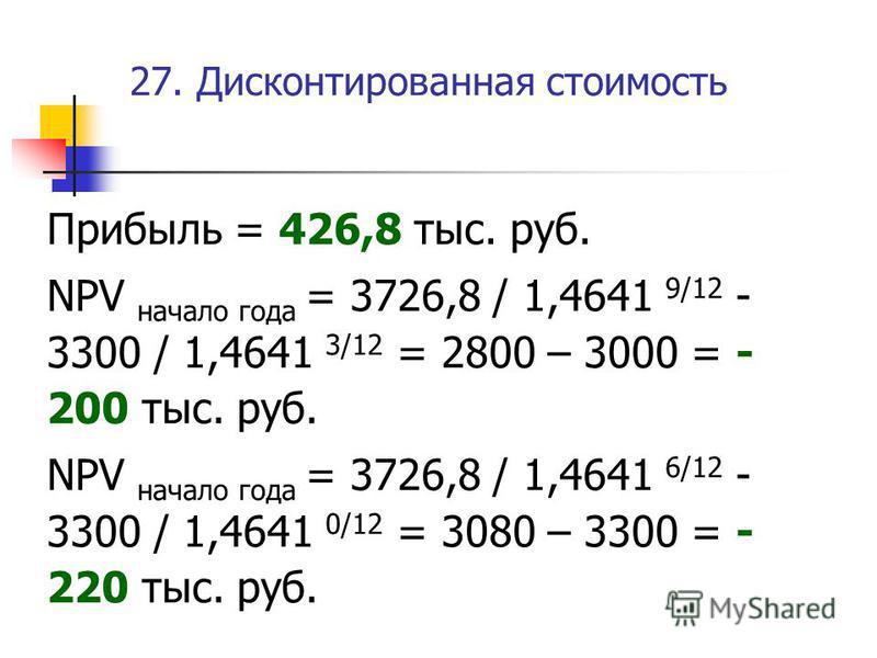 27. Дисконтированная стоимость Прибыль = 426,8 тыс. руб. NPV начало года = 3726,8 / 1,4641 9/12 - 3300 / 1,4641 3/12 = 2800 – 3000 = - 200 тыс. руб. NPV начало года = 3726,8 / 1,4641 6/12 - 3300 / 1,4641 0/12 = 3080 – 3300 = - 220 тыс. руб.