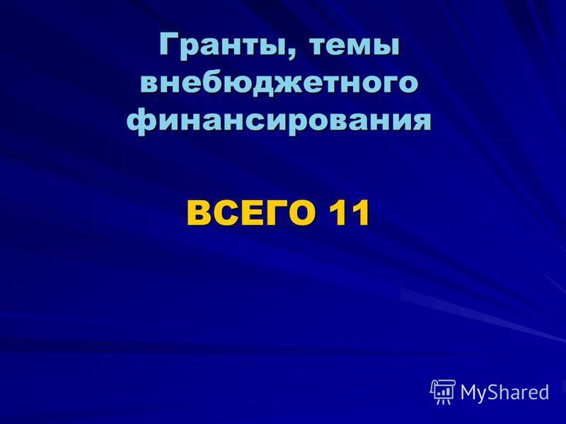 Гранты, темы внебюджетного финансирования ВСЕГО 11