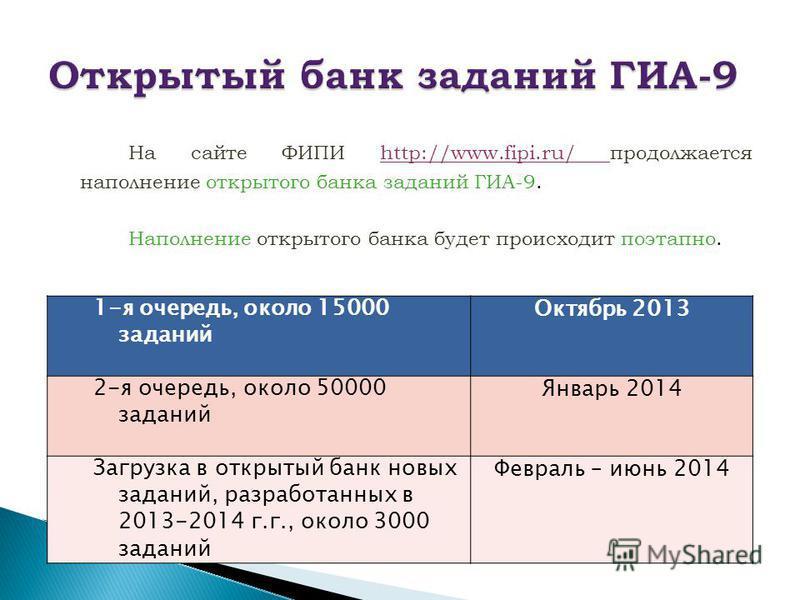 На сайте ФИПИ http://www.fipi.ru/ продолжается наполнение открытого банка заданий ГИА-9. Наполнение открытого банка будет происходит поэтапно. 1-я очередь, около 15000 заданий Октябрь 2013 2-я очередь, около 50000 заданий Январь 2014 Загрузка в откры
