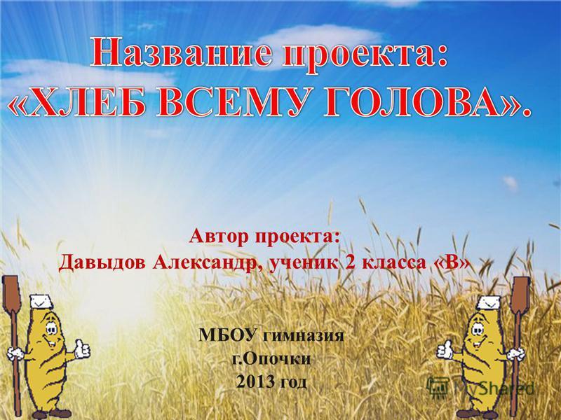 Автор проекта: Давыдов Александр, ученик 2 класса «В» МБОУ гимназия г.Опочки 2013 год