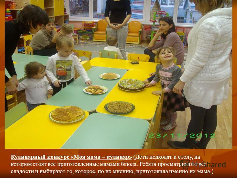 Кулинарный конкурс «Моя мама – кулинар» (Дети подходят к столу, на котором стоят все приготовленные мамами блюда. Ребята просматривают все сладости и выбирают то, которое, по их мнению, приготовила именно их мама.)