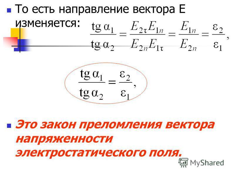 То есть направление вектора E изменяется: Это закон преломления вектора напряженности электростатического поля.