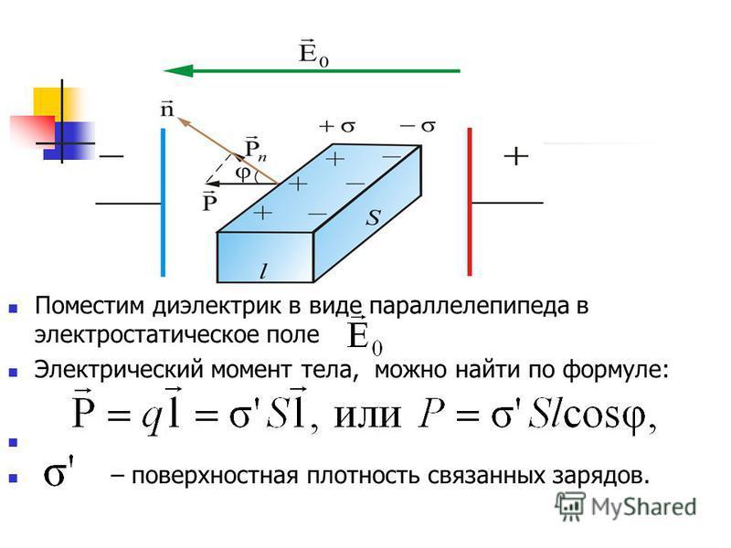 Поместим диэлектрик в виде параллелепипеда в электростатическое поле Электрический момент тела, можно найти по формуле: – поверхностная плотность связанных зарядов.